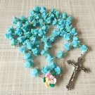 Catholic ROSARY-BLUE Rose Flower Ceramic bead with a Crucifix