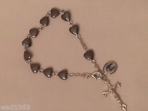 Our Lady of Mercy BRACELET - Heart Shaped hematite beads and Cross - NEW