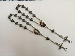 Two (2) Divine Mercy Mini Rosaries � Heart Shaped Hematite beads - NEW