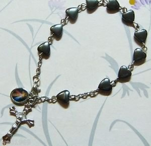 Divine Mercy Rosary BRACELET - Heart Shaped Hematite bead - 8 mm - NEW