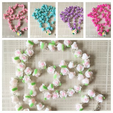 Catholic ROSARY-WHITE Rose Flower Ceramic bead with a Crucifix