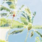 Hawaiian Watercolor - 8 Greeting Cards - Two Palm Trees - Big Island