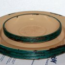 Beige colored with green trim plates & saucers enamelware used 6 plates 5 saucer