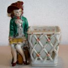 Made in Japan double diamond with t t candle holder hand painted colonial attire