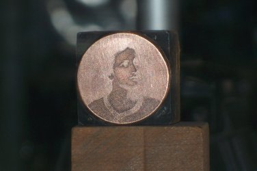 Portrait of a lady? copper printing block unknown maker used