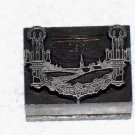 Ornamental candles and scenery metal printing block used unknown maker