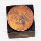 Small round Biblical themed man with book copper printing block letterpress used