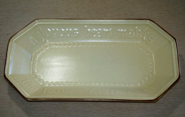 Pfaltzgraff bread loaf pan cream colored pottery brown edge umm whatelse?