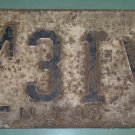New Jersey 1944 License Plate ML 31 V used vintage World War II Era low number