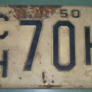 New Jersey 1950 License Plate CH 70 H used vintage low number