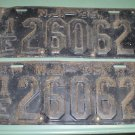 New Jersey 1935 License Plates matching pair 1E 26062 used vintage