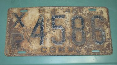 New Jersey 1946 License Plate COMM XP 4586 used vintage