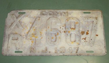 New Jersey 1947 License Plate COMM XR 4687 used vintage