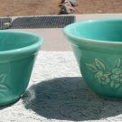 Unknown maker 2 mixing bowls flower design green colored possible mark