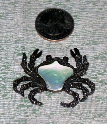 Silver 925 Crab Brooch Red colored eyes Mother of Pearl?