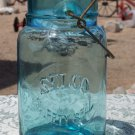 Selco Surety Seal aqua colored quart size canning jar no glass top used empty