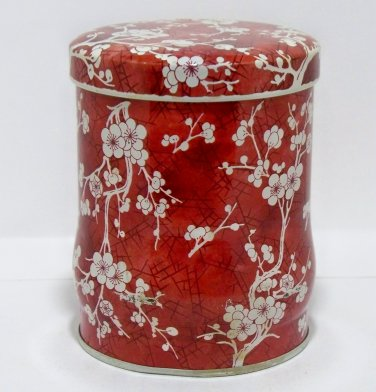 Daher- Made in England - Long Island, N.Y. round red and white flower (T101)