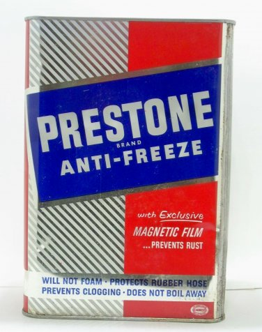 Prestone Eveready Brand Anti-Freeze Union Carbide 1 gallon metal container