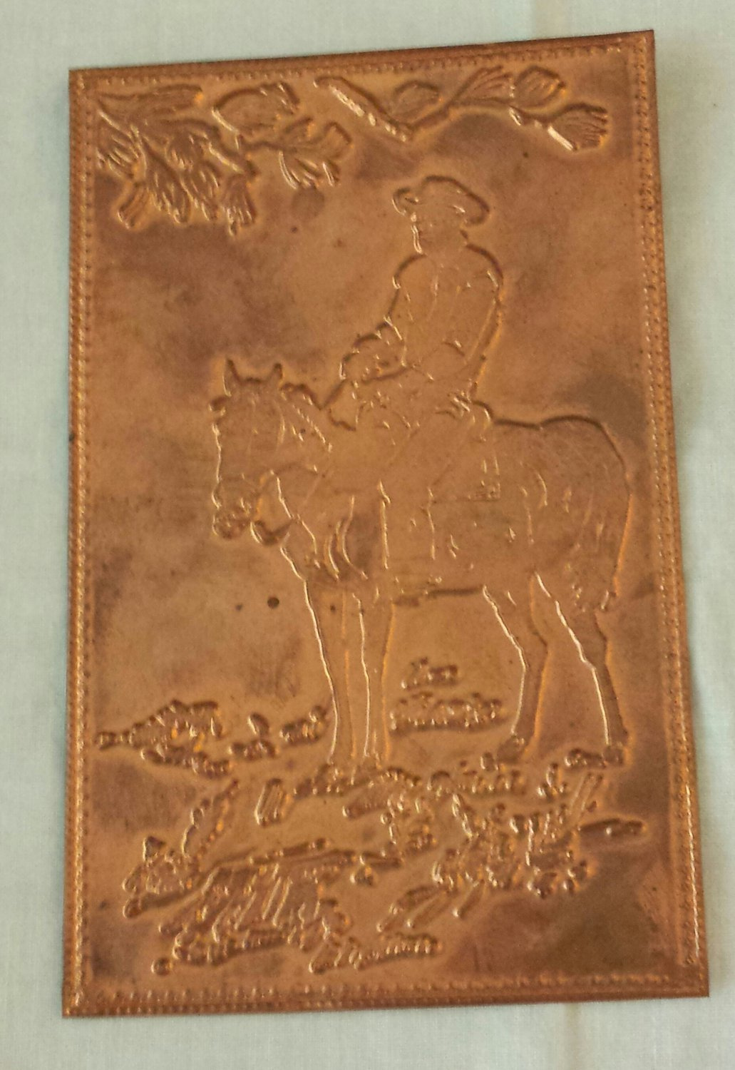vintage 1950s cowboy on horse old west embossed copper