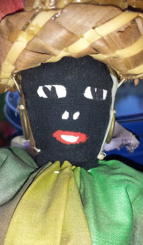 Antique Black Americana Primitive Folk Art Handmade Cloth Rag Doll St Thomas V.I.