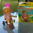 Vintage 60s Mechanical Girls Tricycle With Revolving Bell Wind Up Litho Tin Toy w/ box