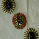 Vintage 1960s Floral Large Stone Costume Jewelry Brooches Pins Set of 3