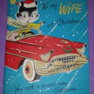 Adorable Vintage 1950s Christmas Greeting Card Booklet Red Cadillac GREAT illustrations!