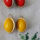 Vintage 70s MOD Gold Tone Costume Red & Yellow Stone Earrings Set of 2