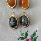 Vintage 70s MOD Gold Tone Costume Amber &  Black Marble Stone Earrings Set of 2