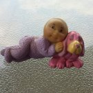 Vintage CABBAGE PATCH KIDS Baby Boy w/ Pink Puppy Dog PVC Figure 1984