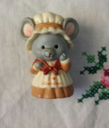 RUSS Vintage 80s I LOVE GRANDMA Country Mouse Miniature PVC Figure