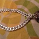 Vintage MOD 60s Silver Tone Chain Link Bracelets set of 2 w/ Shimmery Glass Ball GERMANY