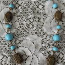 Vintage 60s Boho Hippie Bright Turquoise Blue Beaded Necklace