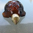 Vintage 70s AVON Treasure Turtle Charisma Cologne Amber Glass Decanter Collectible