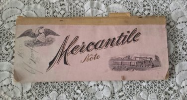 Antique 1800s Blank Promissory Mercantile Note Pad Booklet Blank Notes Locomotive Eagle Cover