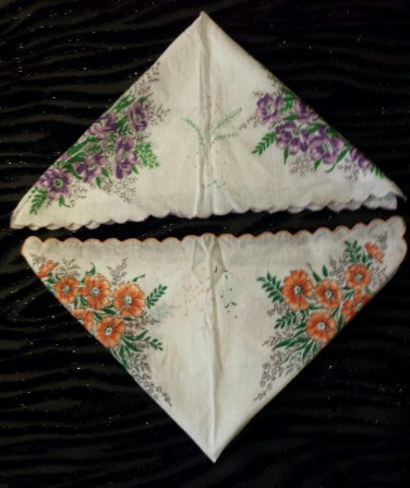 Vintage 1950s Bright Floral Scalloped Edge Cotton Handkerchiefs Hankies Set of 2