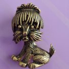 Vintage 60s 70s Shih Tzu Yorkie Cute Puppy Dog Gold Tone Brooch Pin