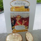 50s Mother Of Pearl Max Factor Creme Puff Compact & Lipstick Case w/ HI Society Red Lipstick Unused!