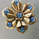 Antique 1930s Brass w/ Blue Cabochons Glamorous Flower Dress Clip