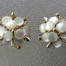 Antique 1950s Elegant Mother of Pearl Signed MARHILL Clip On Flower Earrings