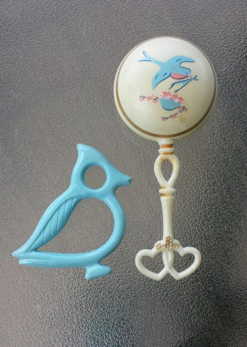 Vintage 1950s Plastic Bluebird Baby Rattle and Bluebird Teething Ring Baby Toys Set of 2