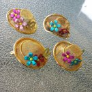 MAD HATTER Vintage 70s Gold Tone Mesh Ladies Brimmed Hats w/ Flowers Pins Brooches LOT OF 4