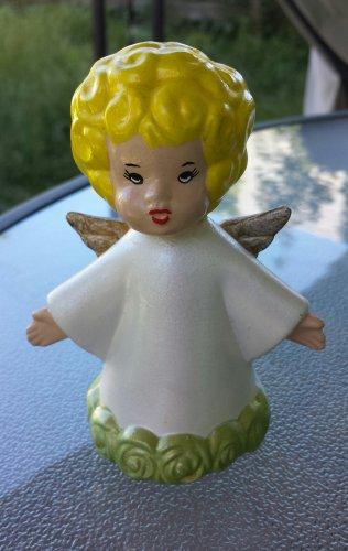 Vintage Ceramic Angel Blonde Girl Painted Angelic Figure Figurine