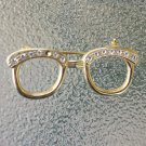 Vintage Rhinestone Cat Eyeglass Pin Brooch