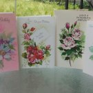 Flower Designs Vintage 1970s Happy Birthday Greeting Cards Lot of 4 vintage scrapbook