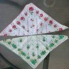 Vintage 1940s 1950s Floral Print Cotton Handkerchiefs Hankies Set of 2