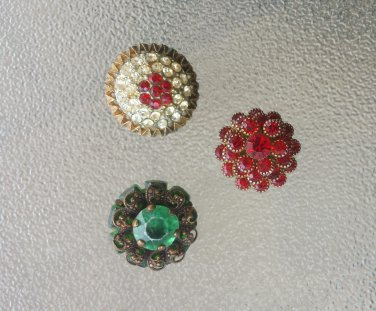 Antique Vintage 50s Jewel Tone & Rhinestone Decorative Glamorous Buttons Lot of 3