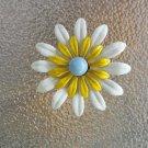 Vintage 50s 60s Painted Enamel MOD Flower Pin Brooch