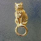 Vintage AVON Gold Tone KITTY CAT Eyeglass Holder Pin Brooch Rhinestone Eyes *MINT NEW IN BOX!
