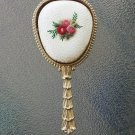 Vintage 50s Gold Tone Handheld Vanity Mirror w/ Embroidery